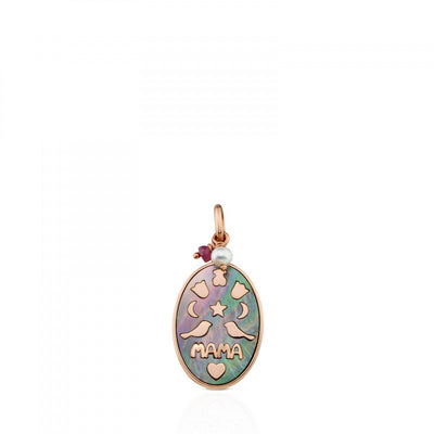 Rose Vermeil Silver Mama Power Pendant with Mother-of-pearl, Ruby and Pearl, Tous