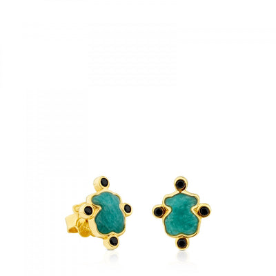 Vermeil Silver Color Power Earrings with Amazonite and Spinels, Tous