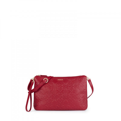 Large red Leather Mossaic Crossbody bag, Tous