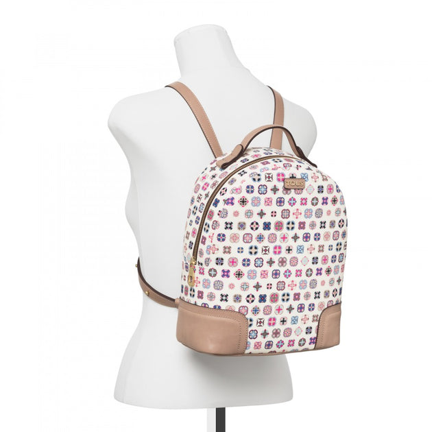 Beige Canvas Mossaic Tie Backpack, Tous