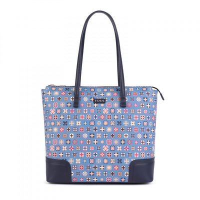 Blue Canvas Mossaic Tie Shopping bag