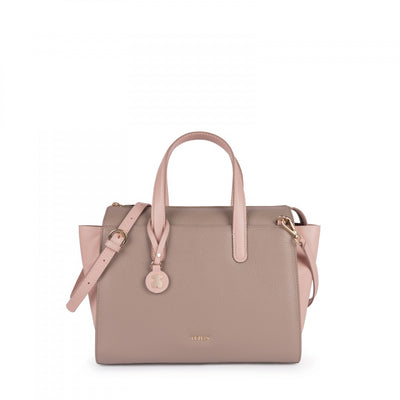 Pink-taupe Leather Rose Bear Bowling bag, Tous