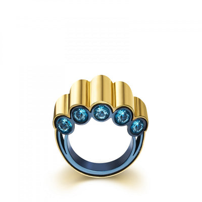 Gold and Titanium View Ring with Topaz