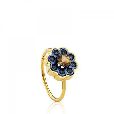 Gold and Titanium View Ring with Iolites and Citrine, Tous