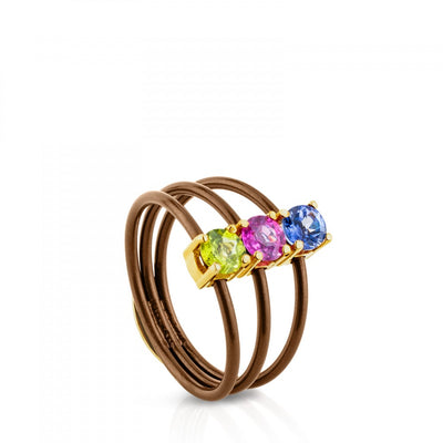 Titanium and Gold Mix Titanio Ring with Gemstones, Tous