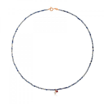 Rose Vermeil Silver Camille Necklace with Sodalite, Ruby and Pearl, Tous
