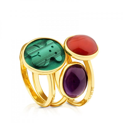 Pack of Vermeil Silver Camee Rings with Malachite, Carnelian and Amethyst, Tous