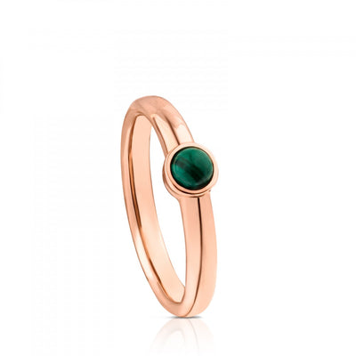 Rose Vermeil Silver Super Power Ring with Malachite