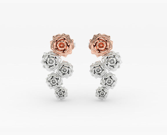 Cascading Rose Earrings PRICES LISTED ARE FOR SILVER - PLEASE REQUEST A QUOTE FOR GOLD CHOICE
