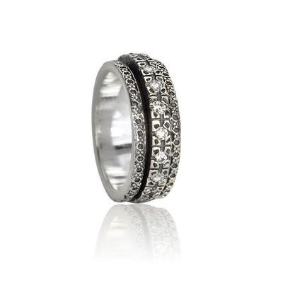 Halo, Cubic Zirconium Meditation Rings