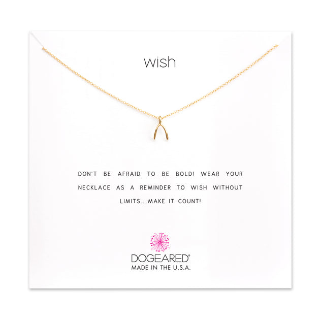 Wish Necklace, Gold Dipped, Teeny Wishbone, 16""