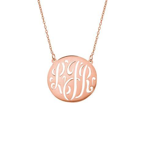 Medium Monogram Script Cut Out Disc Pendant With Chain Maya J MG735