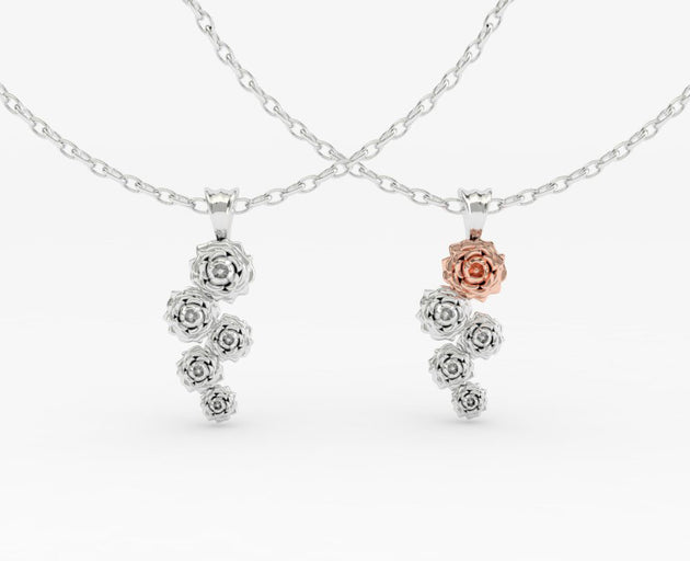 Cascading Rose Pendant - PLEASE NOTE THIS PRICE IS FOR STERLING SILVER PENDANT.