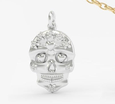 Sugar Skull Flowers Across Forehead Pendant - PRICES LISTED ARE FOR SILVER - PLEASE REQUEST A QUOTE FOR GOLD CHOICE