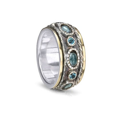 Sky, Blue Topaz Gemstones Meditation Rings