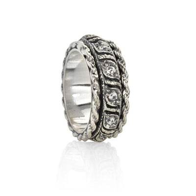 Twilight, Braided Twist Pattern Cubic Zirconium Meditation Rings