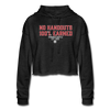 Womens No Handouts Cropped Hoodie - Black - deep heather