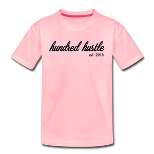 Hundred Hustle Youth Cursive Premium Tee - pink