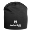Hundred Hustle Cursive and Logo Jersey Beanie Black/Gray/Charcoal - black