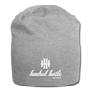 Hundred Hustle Cursive and Logo Jersey Beanie Black/Gray/Charcoal - heather gray