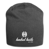 Hundred Hustle Cursive and Logo Jersey Beanie Black/Gray/Charcoal - charcoal gray