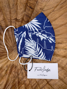 Blue Palm Fabric Face Mask - FaceWedge
