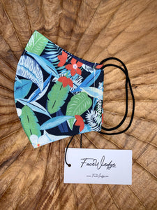 Dark lining - Jungle Tropical Fabric Face Mask - FaceWedge