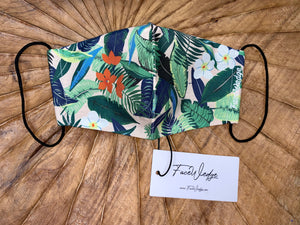 Dark lining - Pink Jungle Tropical Fabric Face Mask - FaceWedge