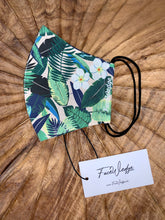 Load image into Gallery viewer, Dark lining - Pink Jungle Tropical Fabric Face Mask - FaceWedge