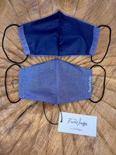 Load image into Gallery viewer, Dark Lining - Dark Blue Linen Effect Fabric Face Mask - FaceWedge