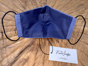 Dark Lining - Dark Blue Linen Effect Fabric Face Mask - FaceWedge