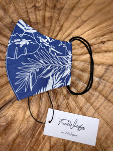 Dark lining - Blue Palm Fabric Face Mask - FaceWedge