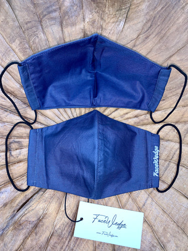 Dark lining - Dark Blue Fabric Face Mask - FaceWedge