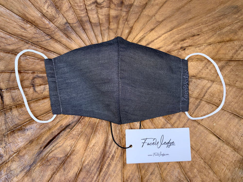 Black Linen Effect Fabric Face Mask - FaceWedge
