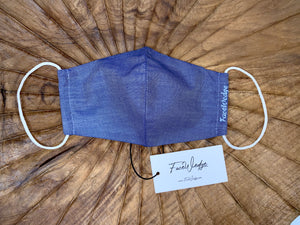 Dark Blue Linen Effect Fabric Face Mask - FaceWedge