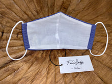 Load image into Gallery viewer, Dark Blue Linen Effect Fabric Face Mask - FaceWedge