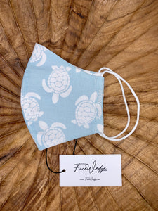 Baby Blue Turtle Fabric Face Mask - FaceWedge