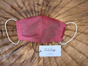Red Linen Effect Fabric Face Mask - FaceWedge