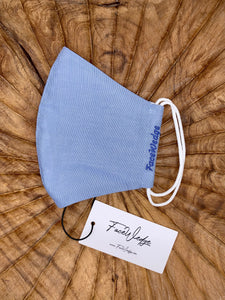 Light Blue Linen Effect Fabric Face Mask - FaceWedge