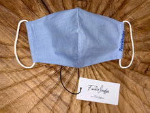 Load image into Gallery viewer, Light Blue Linen Effect Fabric Face Mask - FaceWedge