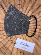 Load image into Gallery viewer, Black Spider Web Fabric Face Mask - FaceWedge