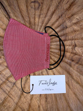 Load image into Gallery viewer, Dark lining - Red Linen Effect Fabric Face Mask - FaceWedge