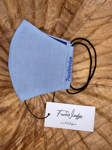 Dark lining - Light Blue Linen Effect Fabric Face Mask - FaceWedge