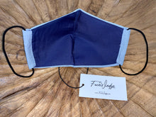 Load image into Gallery viewer, Dark lining - Light Blue Linen Effect Fabric Face Mask - FaceWedge