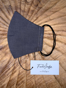 Dark lining - Black Linen Effect Fabric Face Mask - FaceWedge