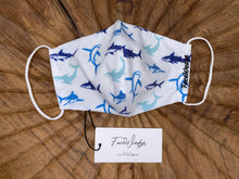 Load image into Gallery viewer, Ocean and Shark Fabric Face Mask - FaceWedge Singapore Breathable Washable Reusable