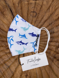 Ocean and Shark Fabric Face Mask - FaceWedge Singapore Breathable Washable Reusable