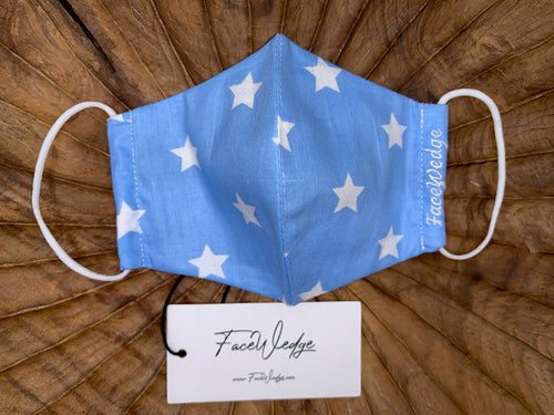 Kids Blue Star Reusable Face Mask - FaceWedge