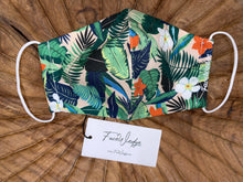 Load image into Gallery viewer, Pink Jungle Tropical Fabric Face Mask -FaceWedge Singapore Breathable Washable Reusable