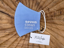 Load image into Gallery viewer, Seven Clean Seas Fabric Face Mask - FaceWedge Singapore Breathable Washable Reusable Seven Clean Seas